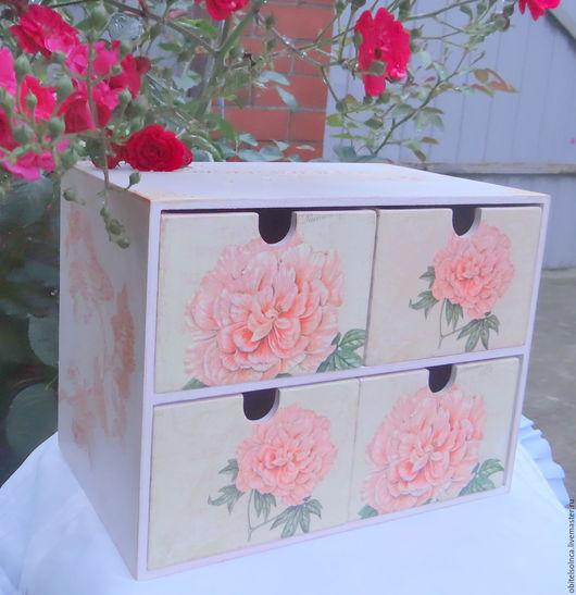 """Мини-комоды ручной работы. Ярмарка Мастеров - ручная работа. Купить Комод """"Розовый сад"""". Handmade. Розовый, подарок декушке"""