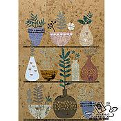 """Картины и панно handmade. Livemaster - original item Cork panel """"Flowerpots». Handmade."""