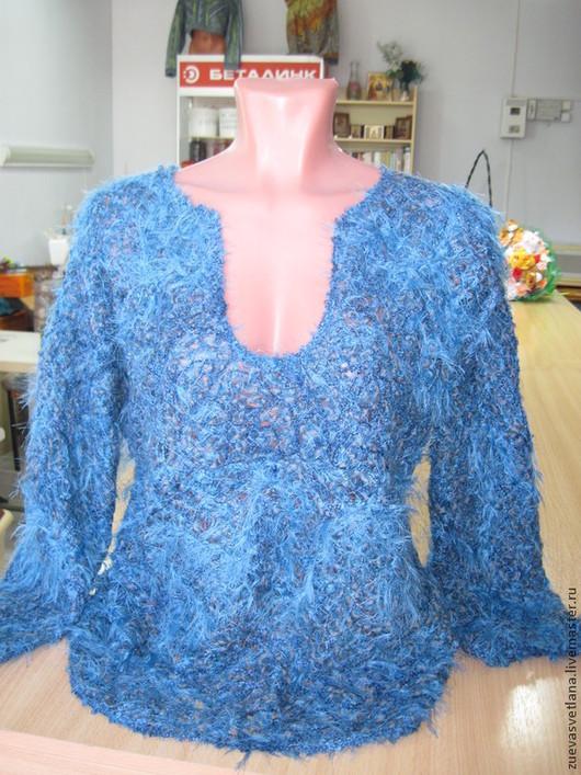 """Блузки ручной работы. Ярмарка Мастеров - ручная работа. Купить Блуза""""МОРЕ"""". Handmade. Синий, блуза из пряжи, авторская ручная работа"""