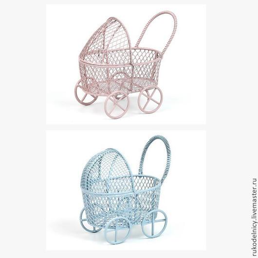 Металлическая колясочка розовая и голубая для декора и подарков !