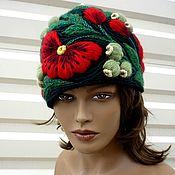 """шапка с вышивкой""""Маки"""""""