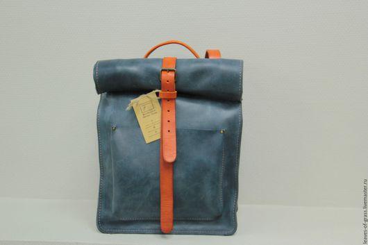 """Рюкзаки ручной работы. Ярмарка Мастеров - ручная работа. Купить Городской рюкзак из мягкой синей кожи """"Сrazy horse"""". Handmade."""