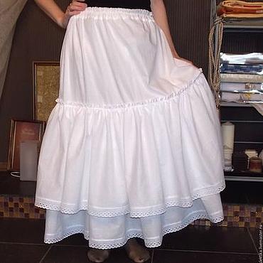 Одежда ручной работы. Ярмарка Мастеров - ручная работа Нижняя длинная юбка отделанная кружевом. Handmade.