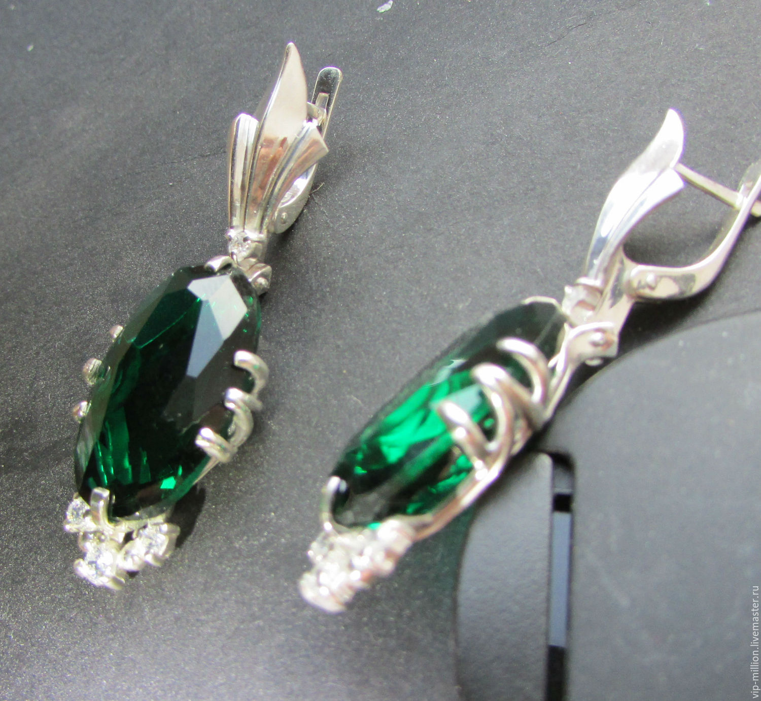 Earrings Handmade Silver Earrings With Green Topaz And Cubic Zirconia  Ladymillion My Livemaster