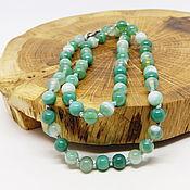 Работы для детей, handmade. Livemaster - original item Beads green agate (tinted) 46 cm. Handmade.
