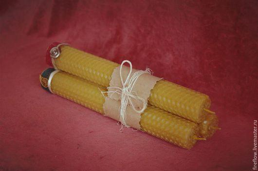 Свечи ручной работы. Ярмарка Мастеров - ручная работа. Купить Свечи из вощины, декорированные фурнитурой. Handmade. Желтый, свечи декорированные