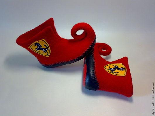 """Обувь ручной работы. Ярмарка Мастеров - ручная работа. Купить """"Ferrari"""". Handmade. Ярко-красный, автомобилисту, шерсть кардочёс"""