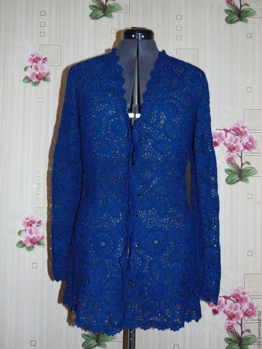 """Пиджаки, жакеты ручной работы. Ярмарка Мастеров - ручная работа. Купить Кардиган """"Индиго"""". Handmade. Тёмно-синий, сетка"""