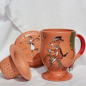 Посуда ручной работы. Ярмарка Мастеров - ручная работа Чайная чашка, блюдце и ситечко Собачка. Handmade.