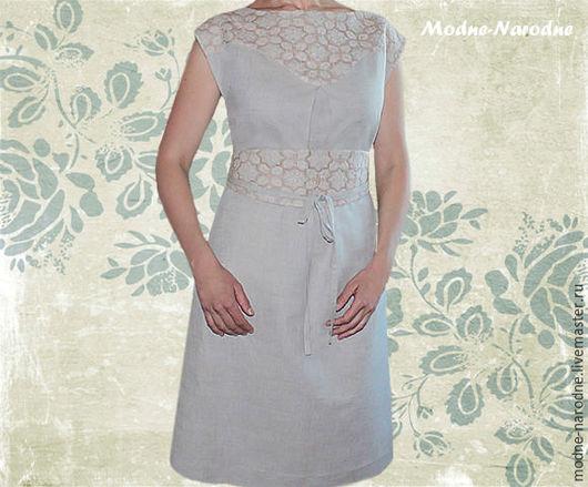 Модная одежда с ручной вышивкой. Творческое ателье Modne-Narodne. Льняное платье с ручной вышивкой Горный Ручей.