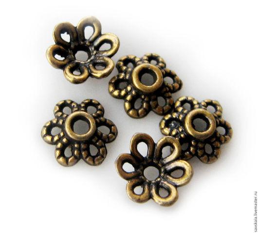 Шапочки Ажур для бусин 8-12 мм, цвет античная бронза