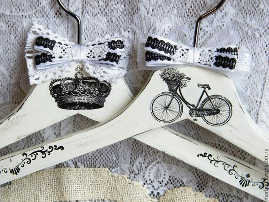 Вешалка плечики для одежды французский винтаж черно-белый, декупаж работы, вешалки ручной работы, деревянная вешалка, гардероб, вешалка в подарок