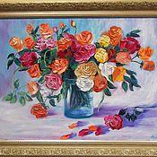"Pictures handmade. Livemaster - original item Картина маслом цветы 50/70 ""Желанные розы"". Handmade."