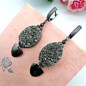 Украшения handmade. Livemaster - original item Large earrings with gray-silver quartz druses. Handmade.