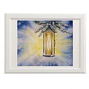 Картины и панно handmade. Livemaster - original item Christmas watercolor paintings, Christmas lantern. Handmade.