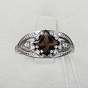 Украшения handmade. Livemaster - original item Silver ring with rauchtopaz 6h6 mm. Handmade.