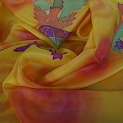 """Аксессуары ручной работы. Ярмарка Мастеров - ручная работа Платок шелковый батик """"Листопад"""". Handmade."""