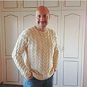 """Одежда ручной работы. Ярмарка Мастеров - ручная работа Мужской свитер """"Весь в косах"""". Handmade."""