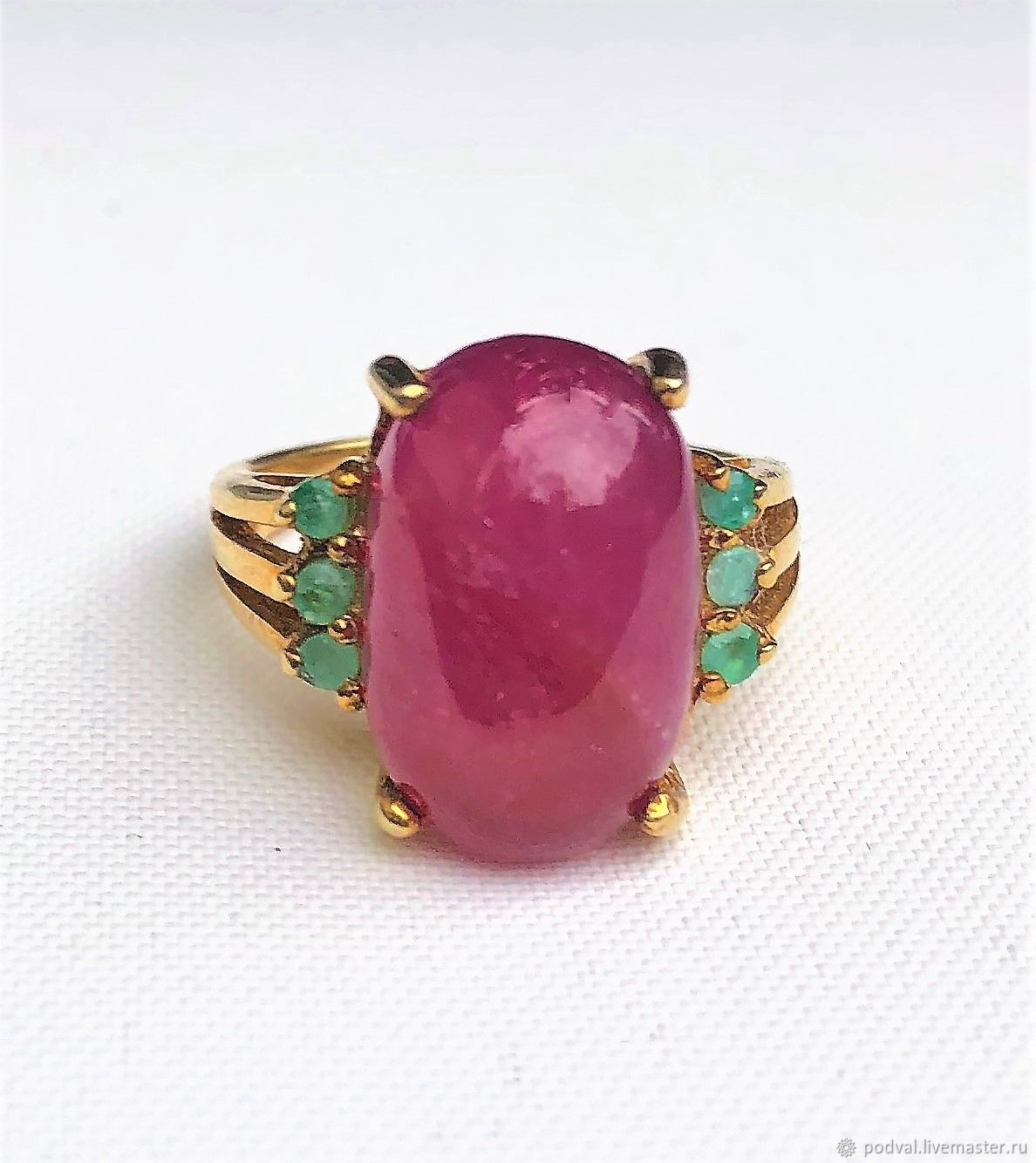 Ring with a large natural ruby cabochon 'Luxor' (p 17), Rings, Korolev,  Фото №1