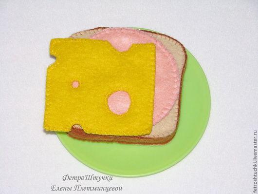 Еда ручной работы. Ярмарка Мастеров - ручная работа. Купить Бутерброд с колбасой и сыром. Handmade. Бутерброд, еда для кукол, сыр