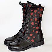 Обувь ручной работы. Ярмарка Мастеров - ручная работа Сапоги с декоративной вставкой, на шнуровке и с молнией. Handmade.