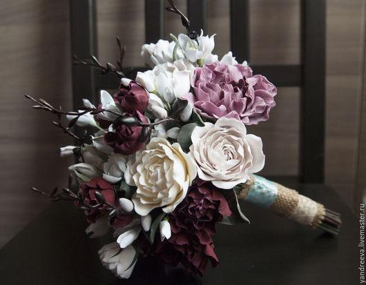 """Свадебные цветы ручной работы. Ярмарка Мастеров - ручная работа. Купить Букет невесты """" Весенняя капель"""". Handmade. Бордовый"""