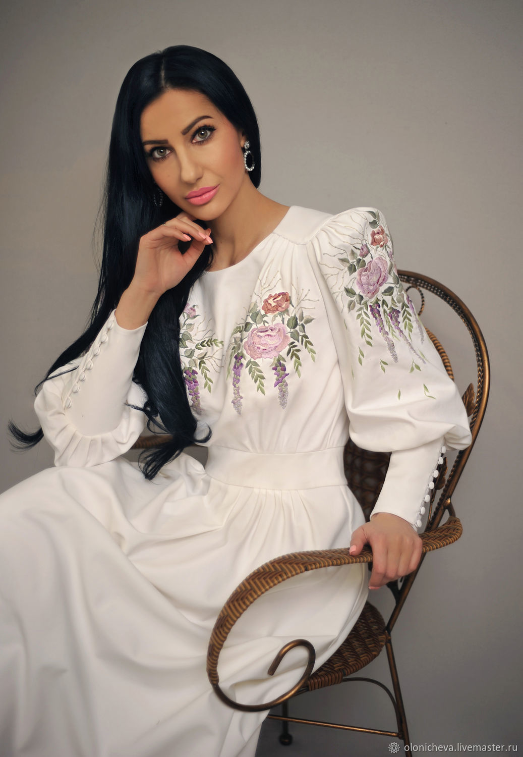 Elegant dress with hand embroidery ' May wisteria', Dresses, Vinnitsa,  Фото №1