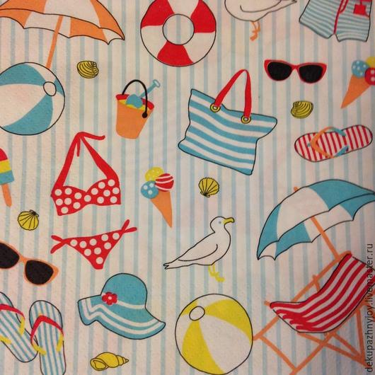 Пляжные элементы и фон в полоску  - салфетка для декупажа Декупажная радость