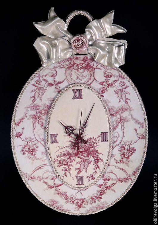 Часы для дома ручной работы. Ярмарка Мастеров - ручная работа. Купить Часы «Dieu doux de l'amour». Handmade. Розовый