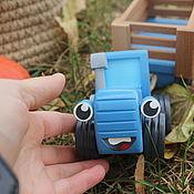 Техника, роботы, транспорт ручной работы. Ярмарка Мастеров - ручная работа Игрушка Синий трактор из мультика. Handmade.