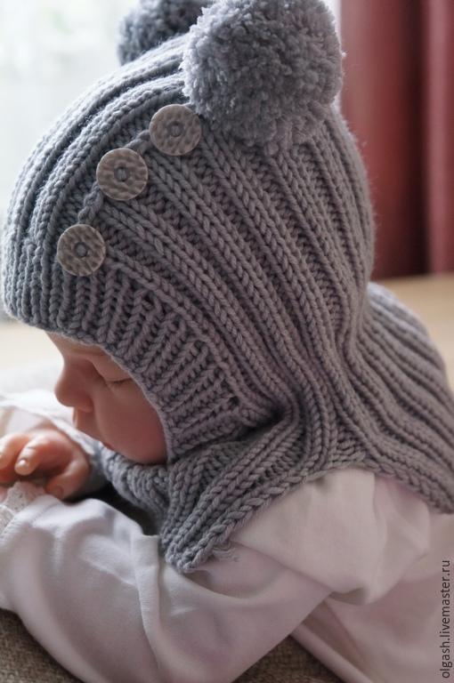 Шапки и шарфы ручной работы. Ярмарка Мастеров - ручная работа. Купить Шапочка-шлем для малыша. Handmade. Серый, шапочка для малыша