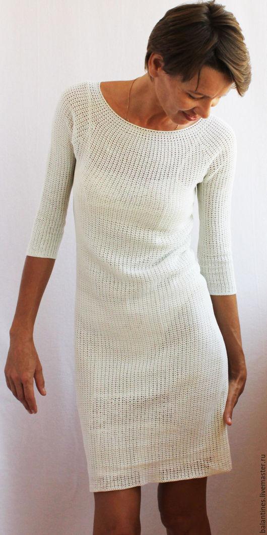 Платья ручной работы. Ярмарка Мастеров - ручная работа. Купить Вязаное платье крючком Снова в моде Платье Ева из хлопка. Handmade.