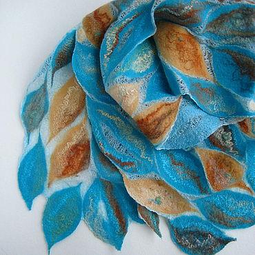Аксессуары ручной работы. Ярмарка Мастеров - ручная работа Шарф валяный на шёлке Какого цвета ветер, шарф ажурный бирюзовый. Handmade.