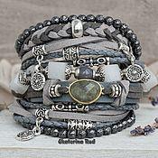 Украшения handmade. Livemaster - original item Suede BOHO-chic bracelet with labradorite