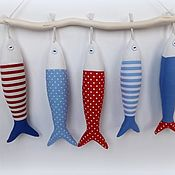 Куклы и игрушки handmade. Livemaster - original item The decor in the style of the Tilde: Set of fish on a stick in the style of Tilda. Handmade.
