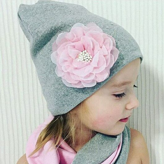 Шапки ручной работы. Ярмарка Мастеров - ручная работа. Купить Шапка с цветком + снуд. Handmade. Розовый, шапка для детей