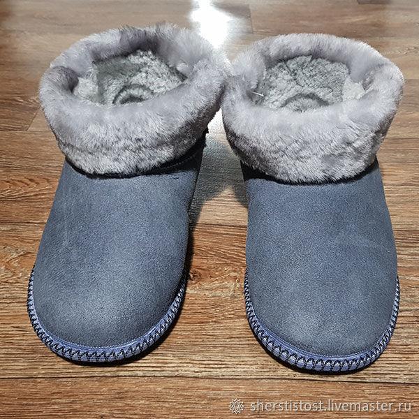 Обувь ручной работы. Ярмарка Мастеров - ручная работа. Купить Чуни из овчины мужские серые. Handmade. Чуни, чуни меховые
