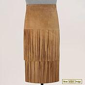 Одежда handmade. Livemaster - original item Skirt with fringe in 2 layers of genuine suede. Handmade.
