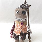 Игрушка текстильная, монстрик  в жилете, игрушка на ладошку.