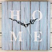 Для дома и интерьера ручной работы. Ярмарка Мастеров - ручная работа Голубые квадратные настенные часы под дерево HOME. Handmade.