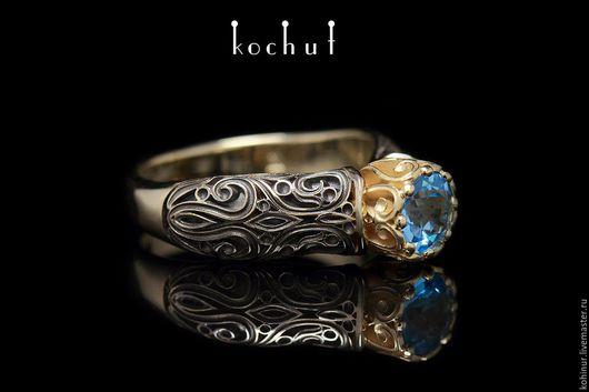 """Кольца ручной работы. Ярмарка Мастеров - ручная работа. Купить Кольцо """"Винтажное"""". Handmade. Золотой, кольцо, голубой"""