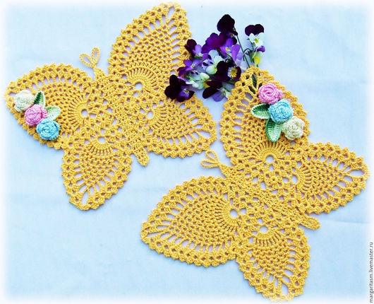 """Текстиль, ковры ручной работы. Ярмарка Мастеров - ручная работа. Купить Комплект интерьерных салфеток """"Лето на крыльях бабочки"""". Handmade."""