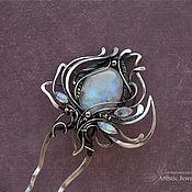 """Шпилька ручной работы. Ярмарка Мастеров - ручная работа серебряная шпилька """"LUNARIS"""" с лунным камнем. Handmade."""