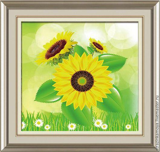 Картины цветов ручной работы. Ярмарка Мастеров - ручная работа. Купить Алмазная мозаика (частичная выкладка) подсолнух. Handmade. Комбинированный