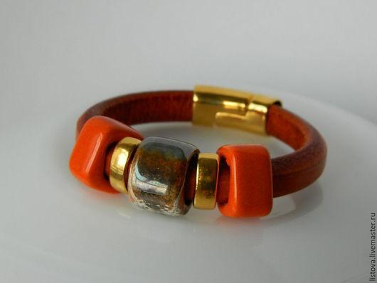 Браслеты ручной работы. Ярмарка Мастеров - ручная работа. Купить Кожаный браслет Regaliz рыжий Египет. Handmade. Браслет