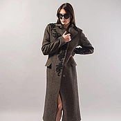 Одежда handmade. Livemaster - original item Melange Lined Coat/Embroidery Wool Coat/Winter Coat/Lace detail/F1739. Handmade.