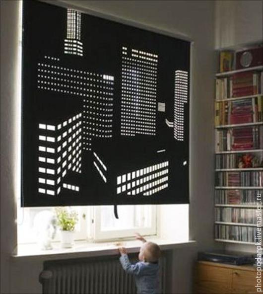 Текстиль, ковры ручной работы. Ярмарка Мастеров - ручная работа. Купить Штора Город. Handmade. Чёрно-белый, шторы для спальни