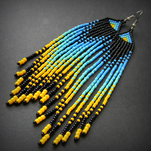 Серьги ручной работы. Ярмарка Мастеров - ручная работа. Купить Яркие длинные серьги из бисера в этническом стиле. Летние бохо-серьги. Handmade.