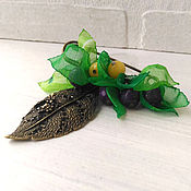 Украшения handmade. Livemaster - original item Brooch safety pin for scarf. Purple berries in bright green.. Handmade.