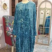 Одежда ручной работы. Ярмарка Мастеров - ручная работа Пальто накидка из легкого голубого бархатаю Модель 2. Handmade.